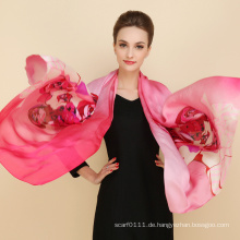 2016 neuesten langen Chiffon Schal mit Blumenmuster