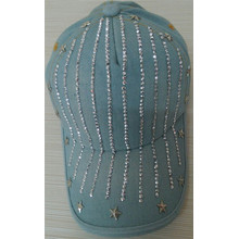 2014 fashion denim baseball cap with rhinestone diamond star adjustable cap women men hot sale good quality