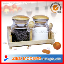 Set Of 2pc Spice Bottle With Wooden Spoon & Wooden Rack