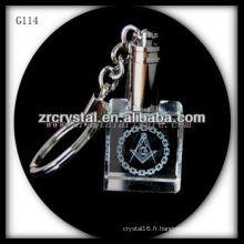 Keychain en cristal de LED avec l'image gravée par laser 3D à l'intérieur et le keychain en cristal blanc G114