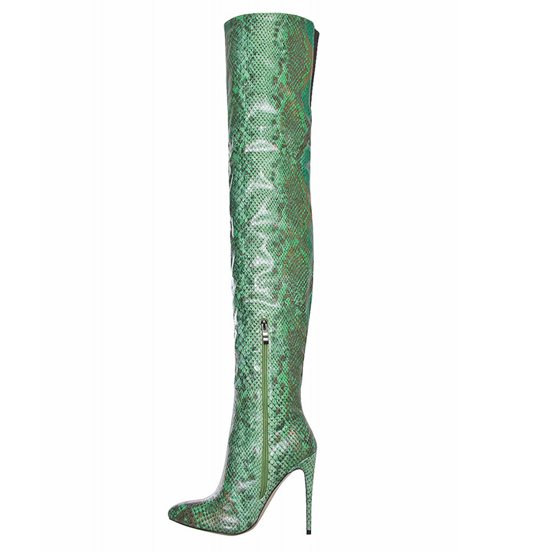 serpentine PU leather women boots thigh heel