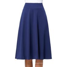 Kate Kasin Occident Women's High Stretchy Navy Cotton High Waist A line Flared Skirt KK000279-2
