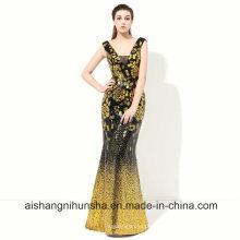 Gold Pailletten-Abendkleid mit Meerjungfrau-Spitze Abendkleid