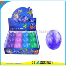 Hot Sell Kid's Toy 65mm Rubber LED Flashing Colorful PE Stripe Bouncing Ball