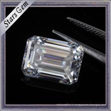 Prix Carat 7.5X5.5mm Diamant Émeraude Blanc Clair Moissanite Diamant