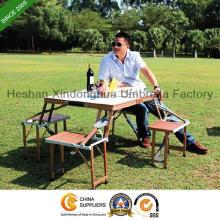 Picnic Table pliable en alliage d'aluminium et chaises définit pour les meubles extérieurs (PT-001 a)
