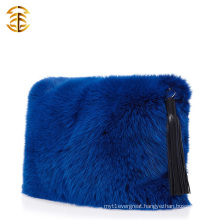 2016 Luxury Genuine Fox Fur Handbag Funky Casual Ladies Fur Clutch Bag
