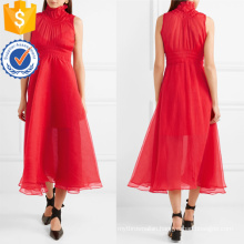 Red Chiffon Sleeveless High Neck Pleated Midi Summer Dress Manufacture Wholesale Fashion Women Apparel (TA0264D)