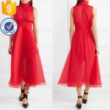 Chiffon vermelho sem mangas de gola alta plissada vestido de verão midi manufatura grosso moda feminina vestuário (t0264d)