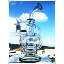 Hb-K50 Recycler Inline Perco Tricyclic Cross Shape Curved Neck Glass Smoking Water Pipe