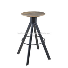 Industrial Round Wood Metal Bar Stool