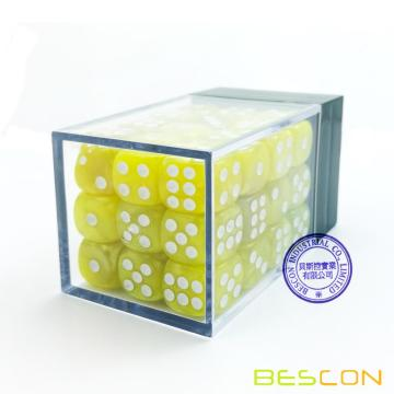 Bescon 12mm 6 caras Dice 36 en Brick Box, 12 mm Six Sided Die (36) Bloque de dados, Marble Yellow