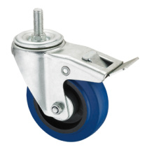 Middle Duty Series Caster - Threaded W/ Brake - Blue Elastic Rubber (roller bearing)