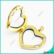 Gold Crystal Heart Magnet Lockets Jewelry