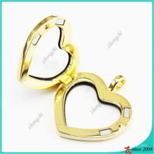 Jóias de medalhões de ímã de coração de cristal de ouro