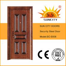 Wärmeübertragung Eingang Sicherheit Edelstahltür mit Griff (SC-S008)