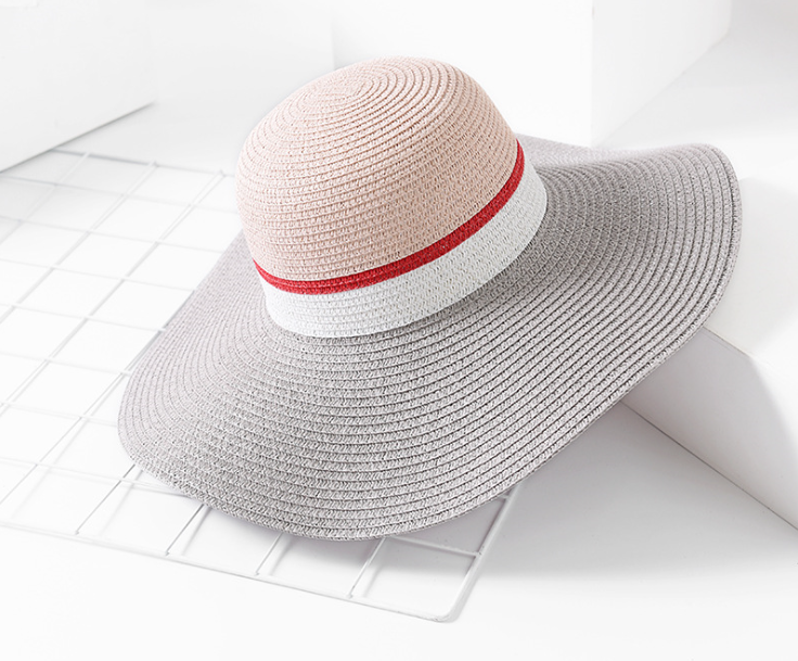 Wide Brimmed Paper Straw Hat Grey