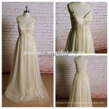 Elegant Champagne Wedding Dresses A Line Spaghetti Strap Bridal Gowns J107