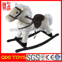 2014 hot selling plush wooden rocking horse toy