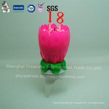 Vela de aniversário de flor de crisântemo com número