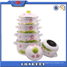 Yiwu Wholesales Full Flower Decal Enamel Cast Iron Pot