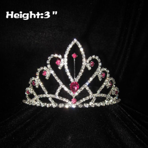 3inch Crystal Crowns with Pink Diamond