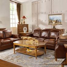 Canapé en bois en cuir véritable en bois simple