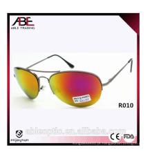Óculos de sol de metal unisex de estilo americano com lente de espelho