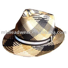 Paper straw hat with band