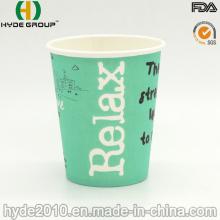 Copos de café do papel de impressão 8oz, copo de papel descartável do café
