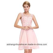 Frauen-reizvolles Chiffon- ärmelloses Knie-Längen-spezielles Abschlussball-Kleid