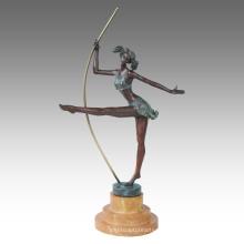 Danseur Figure Statue Pole Danse Bronze Sculpture TPE-595