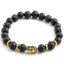 Le bracelet chanceux antique de lave de noir a perlé le bracelet de tête de Bouddha d'or pour des hommes