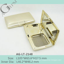 Retro shining Rectangular Compact Powder Case With Mirror AG-LT-2148, AGPM Cosmetic Packaging , Custom colors/Logo