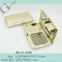Retrô brilhando retangular compacta em pó caso com espelho AG-LT-2148, embalagens de cosméticos do AGPM, cores/logotipo personalizado
