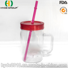 Wholesales Single Wall Plastic Mason Jar with Handle