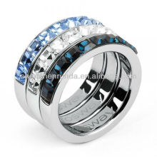 Anillo al por mayor del anillo del Rhinestone de la manera 3Sets suena la joyería de China
