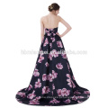 Sem alças de seda preto sem costas impresso flor cetim vestido de baile trem sexy vestido de noiva