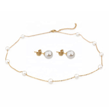 New Arrival Classic Trendy Gold Plated Pearl Jewelry Set Women