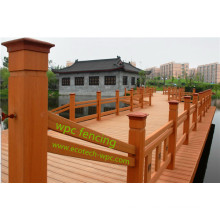 Exterior Wood PE Composite Railing Easy Install Landscape WPC Municipal Fencing