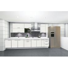 Armário de cozinha de acabamento UV branco elegante de topo