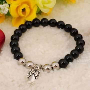 Natural Black Onyx Bracelet Gemstone jewelry alloy pendants