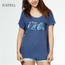 Lantejoula Imprimir Algodão Mulheres Camiseta