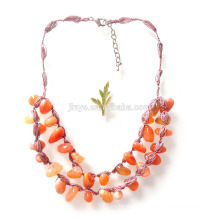 Fashion Crochet 2 Layered Stone Necklace