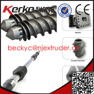 Parallel twin screw extruder screw and barrel for plastic granulating machine