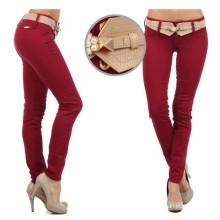 2016 Fabricante Hot Sale Preço mais barato Preço mais baixo Vermelho Escuro 100% Algodão Long Autumn Ladies Casual Calças