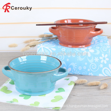High quality gift ceramic glaze bowl with two ears handles