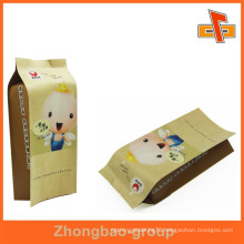 Heat seal custom printed brown kraft paper bag for snack made in China