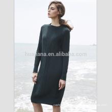 Frauen Jacquard lange Kaschmir Kleid