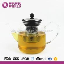 Théière de poignée en verre de Borosilicate de vente chaude avec la crépine 1000ML d'acier inoxydable